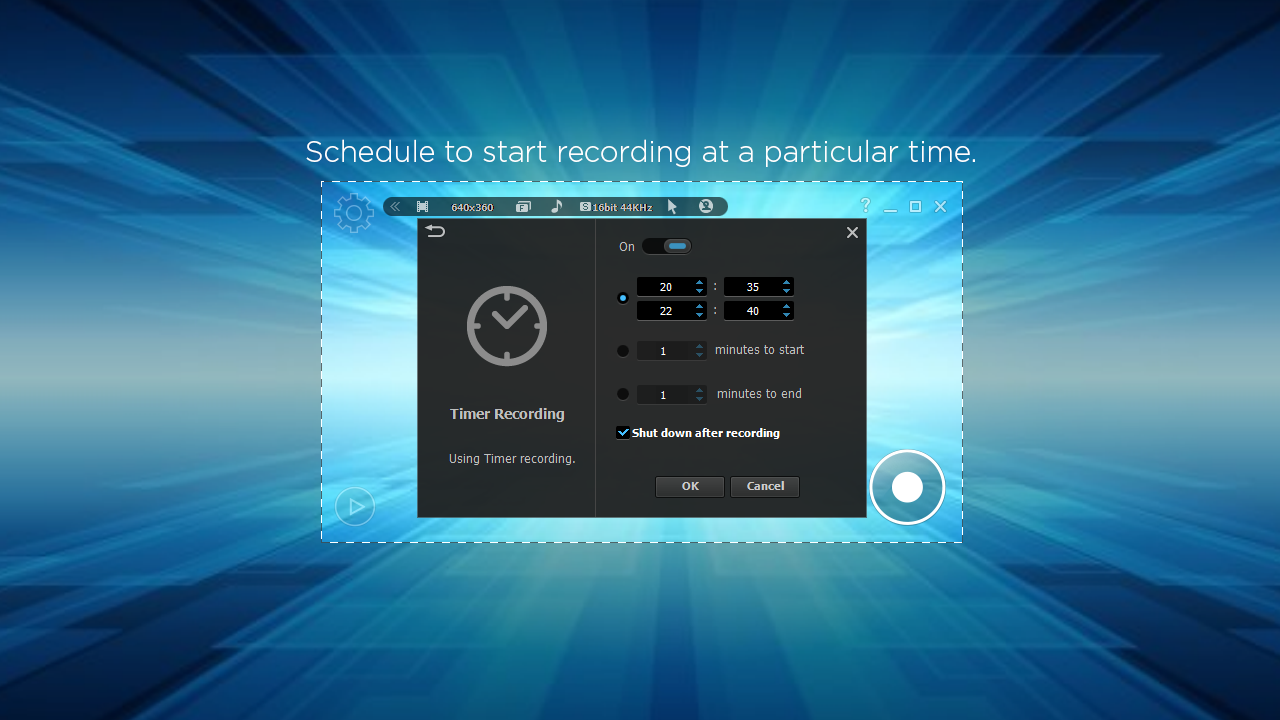 litecam hd screen recorder time options
