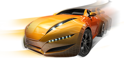 orange 3d video game racing car